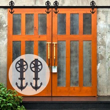 LWZH 16FT/18FT/20FT Sliding Closet Wood Door Anchor Shaped with Big Rollers Hardware Kits for Sliding Barn Double Door