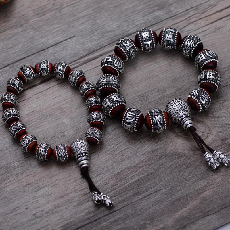 Тибетский ОМ МАНИ ПАДМЕ ХУМ браслет натуральный дольчатый красный сандал инкрустированные 925 пробы серебряной головой Будды мантра для Для мужчин Для женщин влюбленных - 4