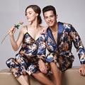 11 Dos Homens do Estilo Chinês de Cetim de Seda Pijamas Para Homem Casal Sexy Masculino Homme Baratos Dormir Sleepwear Plus Size