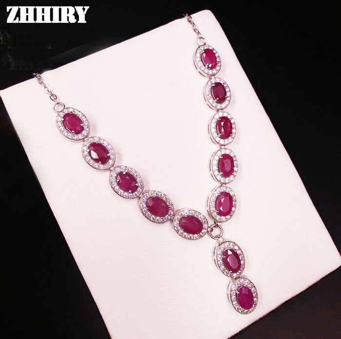 Natural Ruby Gem Necklace Woman Precious Stone Pendant Solid 925 Sterling Silver Fady's Fine Jewelry
