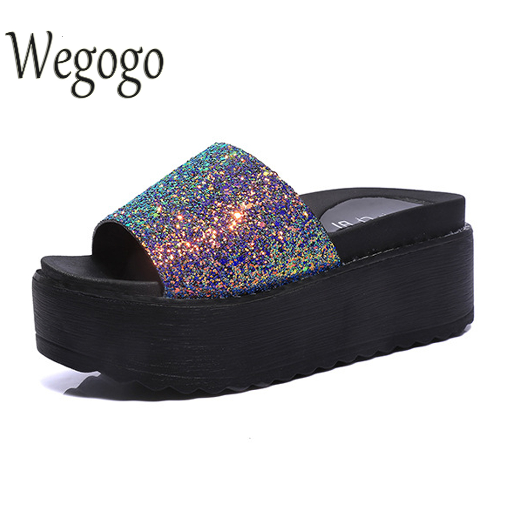 Bling Gitter Creepers Sandals Oxfords Shoes Woman Flats Fashion Multi Color Casual Slides Summer Shoes phyanic gold silver wedges sandals 2017 new platform casual shoes woman summer buckle creepers bling flats shoes phy4040