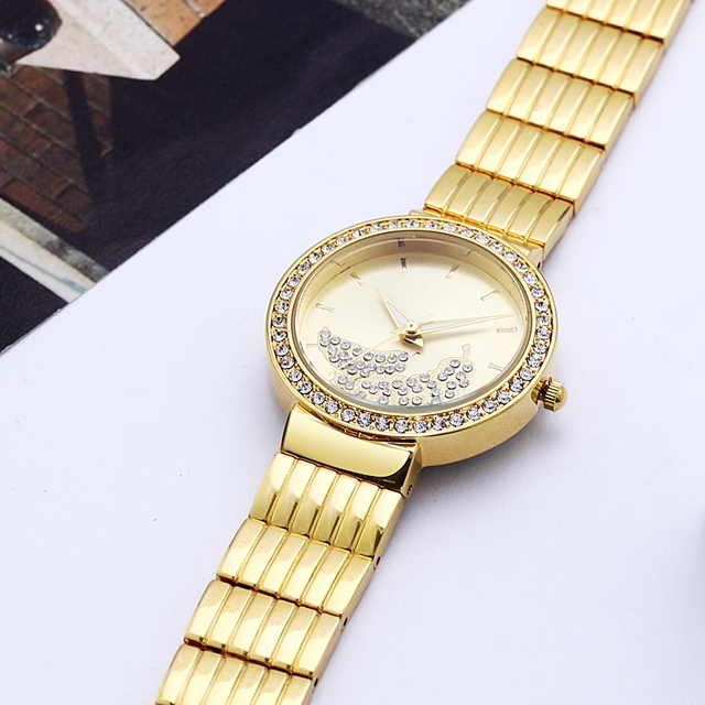 Crystal Leaf Dial Wrist Watch