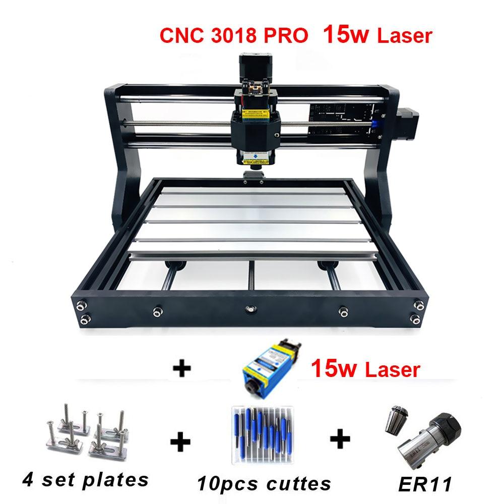 Cnc3018 pro Laser Gravadora 15 w GRBL ER11 PCB Diy Mini Madeira CNC Router Máquina de Gravura do Laser para o Russo