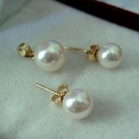 Ensemble de boucles d'oreilles en perles de mer du sud blanches AAA 7.5-8mm rondes parfaites 14 K