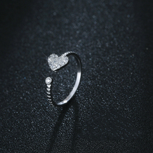 Fashion Silver Dazzling CZ Opening Rings 925 Heart-Shaped Zircon Ring Engagement Wedding For Women