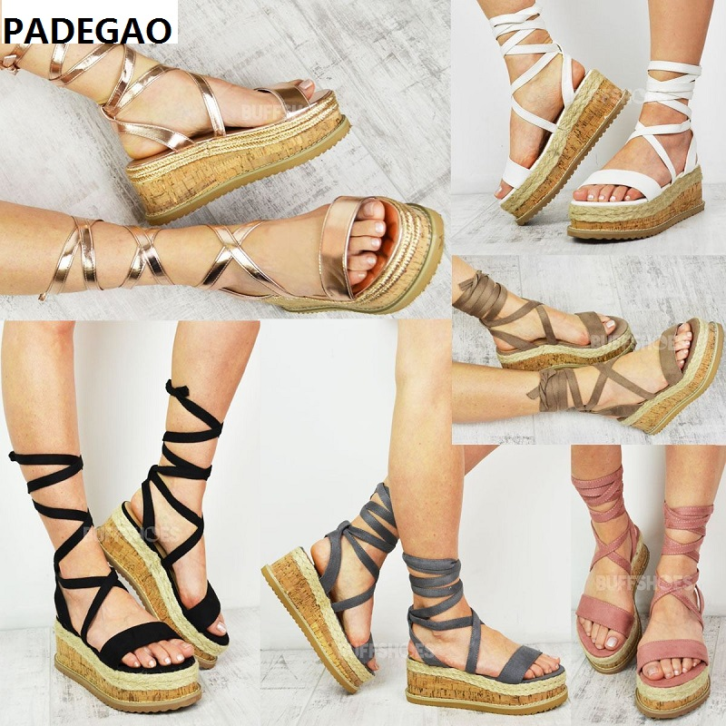Wedge Sandals Shoes Platform Ankle-Strap Thick-Bottom-Shoes Lace-Up Woven Roman Ladies