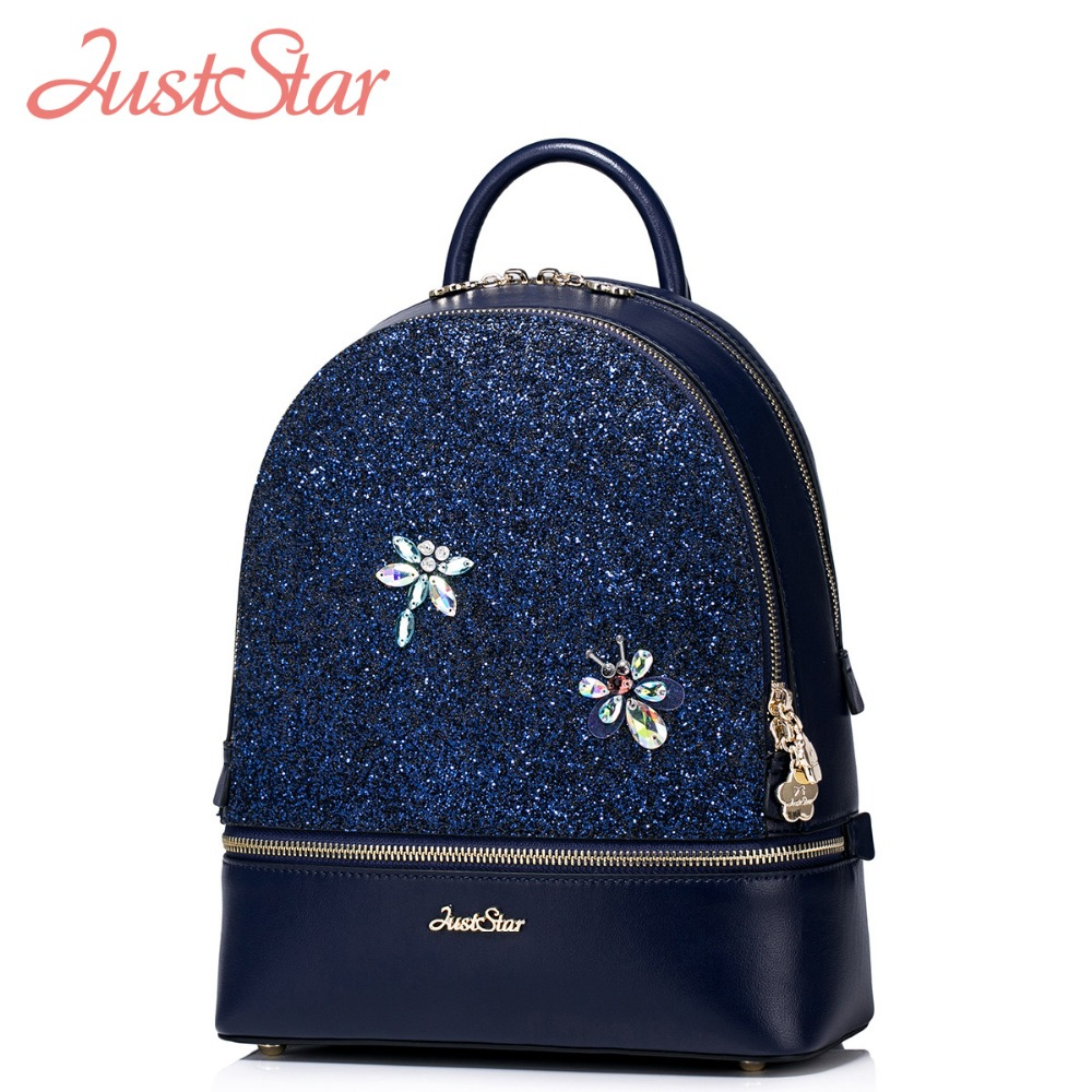JUST STAR Women PU Leather Backpack Female Fashion Dragonfly Travel Ladies Shoulder Bags Girl's Diamond Student Rucksack J4135