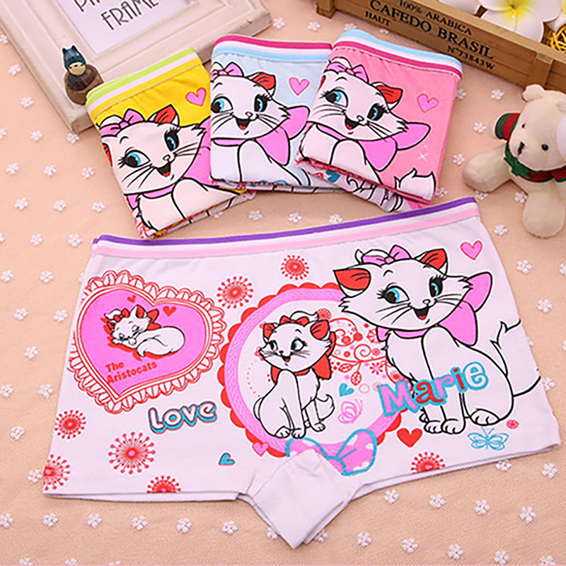 4Pcs/Lot Cotton Child Boxer Briefs Children Underwear Cute Cat Girls Underpants Female Child Boxer Baby Shorts For 2-9 Years