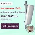 806 ~ 2500 MHz 12dB antena de polarización dual 2G 3G 4G-LTE COMPLETO FRECUENCIA antena panel de antena MIMO para AP sector N-hembra
