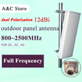 806~2500MHz 12dB dual polarization antenna 2G 3G 4G-LTE FULL FREQUENCY panel antenna MIMO antenna for AP sector N-Female