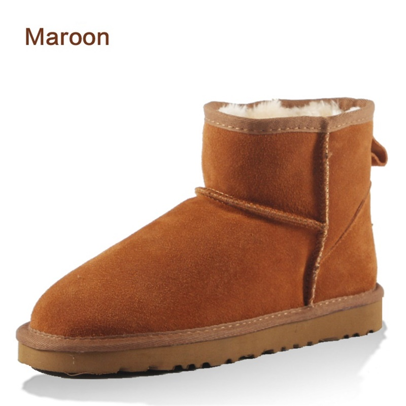 new 2017 Winter Couple Ankle Snow Boots For women men UG Boots Genuine Leather Shoes Ladies Plush Boots With Fur Warm Boots
