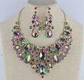 Declaração das mulheres conjuntos de jóias de noiva brincos colar de casamento set verde AB colorido Strass Jóias para vestido de Festa