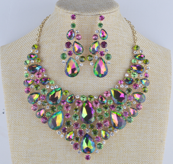 Women's statement jewelry sets bridal wedding necklace earrings set green AB colorful Rhinestone Jewelry for Party  dress