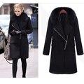 Мода Зима Осень Женщины Куртка Длинные черные Пальто С Меховым Воротником 3XL Траншеи Куртки Пальто abrigos mujer elegantes мыса пальто