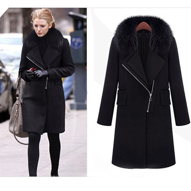 US $64.86 17% OFF|Fashion Winter Herfst Vrouwen Parka Lange zwarte Jas Met Bontkraag 3XL Trenchcoatjasje abrigos mujer elegantes cape jas in Wol en