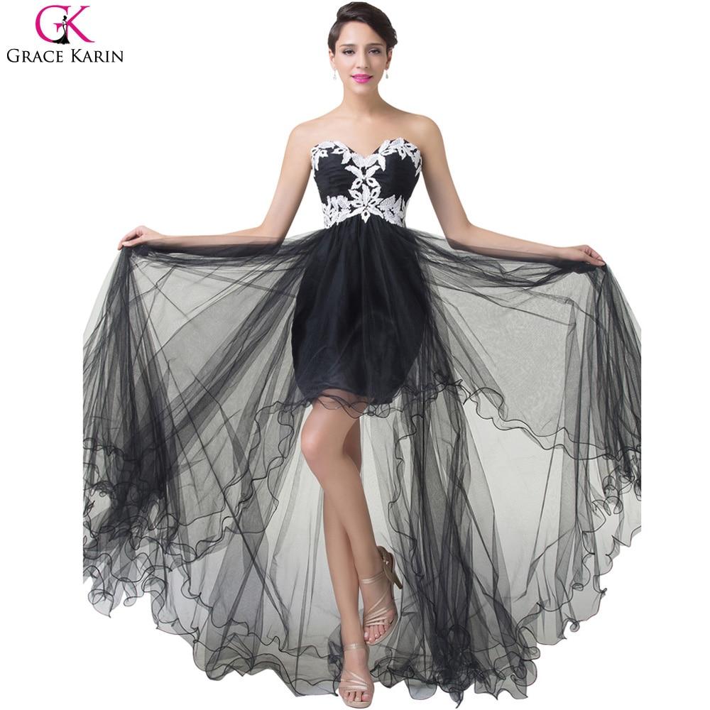 Grace Karin Short From Long Back Black Prom Dresses 2017 Cheap Lace