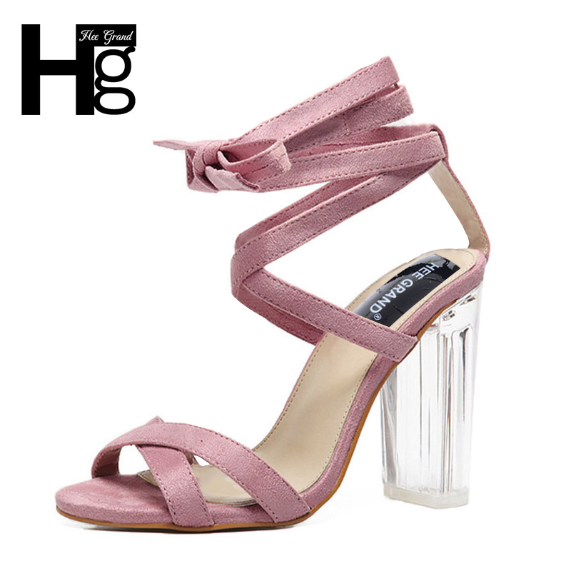 HEE GRAND 2017 Gladiator Cross-tied Lace Sandals Super Square High Heels Sexy Summer Style Party Shoes Woman WXG329 hee grand summer glitter gladiator sandals 2017 casual wedges bling platform shoes woman sexy high heels beach creepers xwx5813