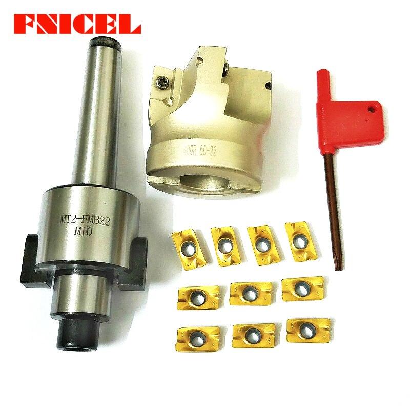 4 flûtes MT2 400R Visage Fin Mill Cutter 50mm + 10 pièces APMT1604 Carbure Inserts avec Clé Pour Le Fraisage outil