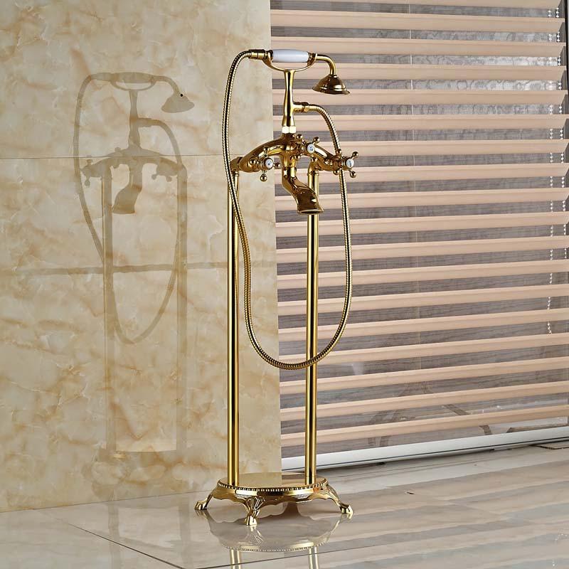 Modern Floor Mounted Clawfoot Tub Filler Golden Brass Bathtub Faucet ...