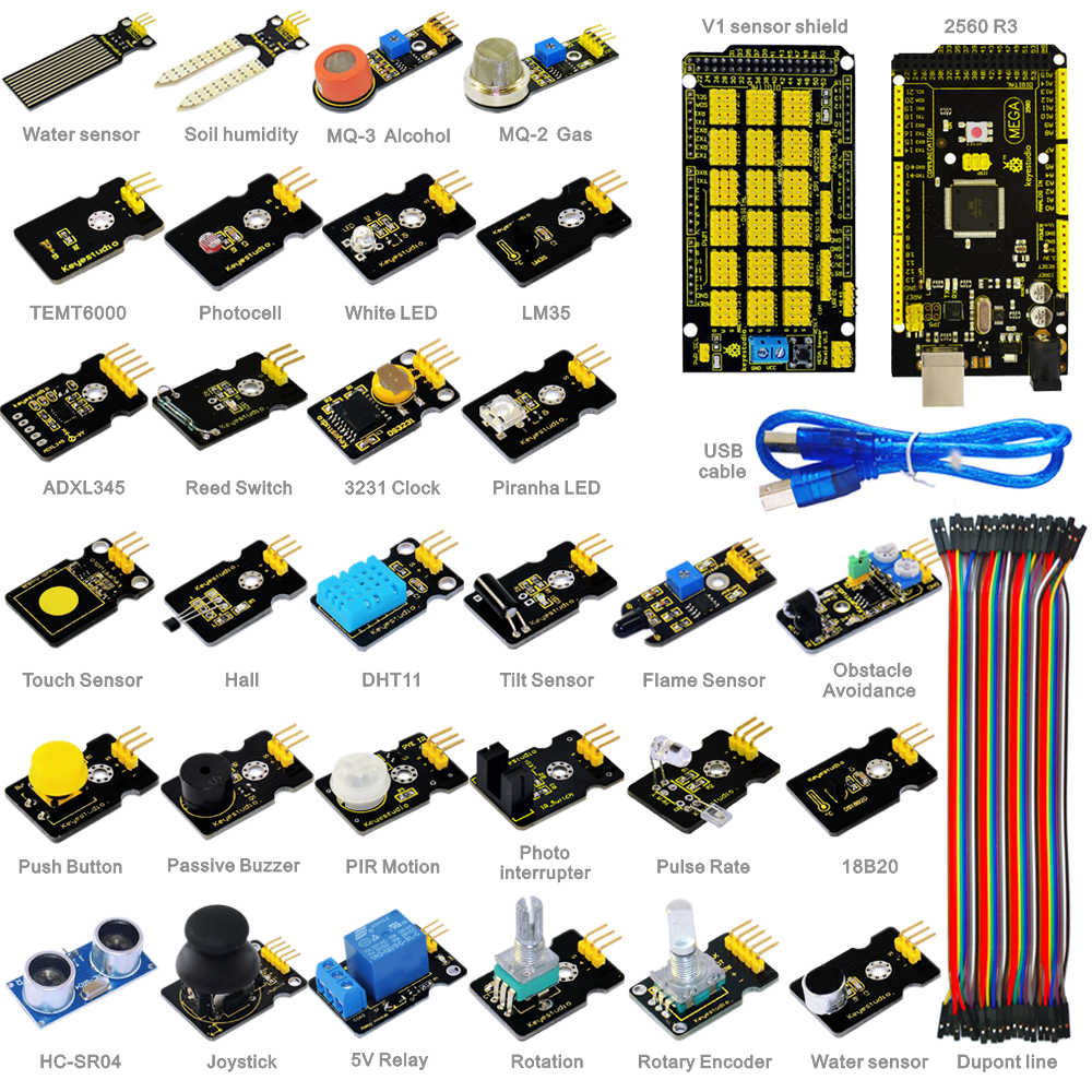 Free shipping New sensor kit for aduino starter with Mega 2560 Shield V1 Sensors Dupont cable