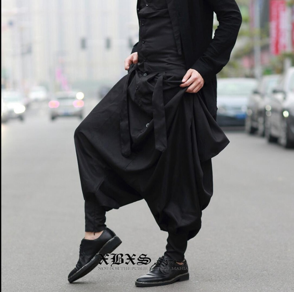 Low Crotch Pants Men Avant-garde Exaggerated Personality Tide Men Korean Version Non-mainstream Of Feet Ninja Trousers 2020 New