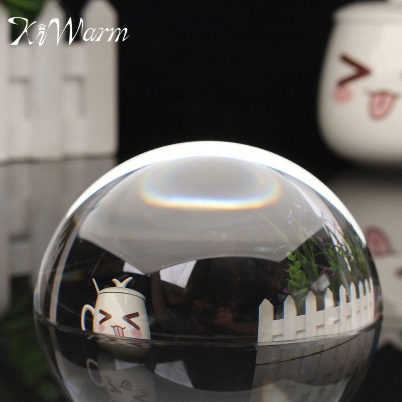 "KiWarm New 100mm 3.94"" Paperweight Half Sphere Ball Magnifiers <font><b>Glass</b></font> Clear Crystal Ball for Home Decor Ornament Crafts Gifts"