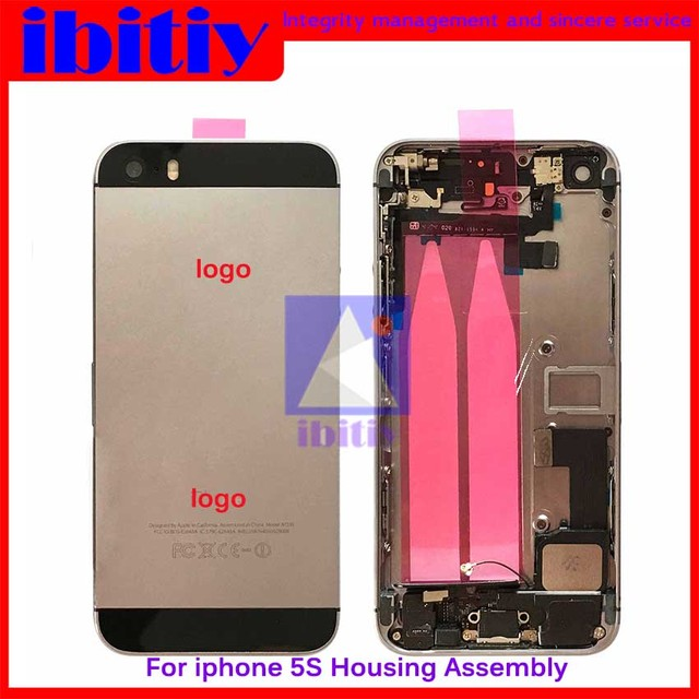 10Pcs/lot For iPhone 5S Full Housing Metal Back Battery Cover Middle Frame Housing with all small parts Assembly free shipping