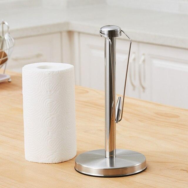 Non Slip Stainless Steel Paper Towel Stand Holder Kitchen Tissue Wiping Rack Disposable Roll Dispenser Organizer