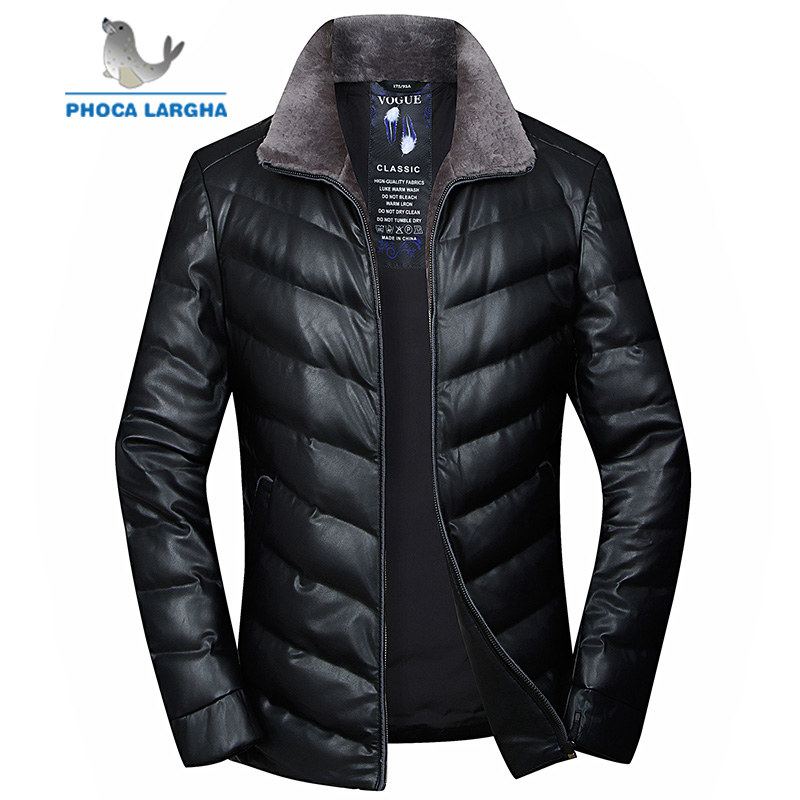 2018 Winter   Down   Jackets Men's Wool Turn-  down   Collar Parkas Mens Brand Clothing 90% White Duck   Down     Coats   Male Plus Size 4XL