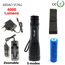 4000LM CREE XML T6 High Power LED Flashlight Aluminum LED Torch Zoomable Flash Light Torch Lamp+Charger+ Battery+Holster Holder