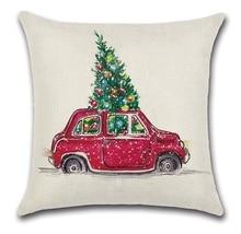 2 قطعة الأحمر الأصفر سيارة حافلة تحمل عيد الميلاد شجرة وسادة غطاء وسادة حالة المنزل الزخرفية غطاء الوسادة