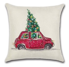 2pcs Red Yellow Car Bus Carrying Christmas Tree Pillow Cover Cushion Case Home Decorative