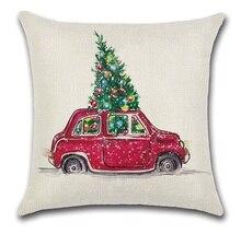 2pcs אדום צהוב רכב אוטובוס נשיאה חג המולד עץ כרית בית דקורטיבי כרית כיסוי