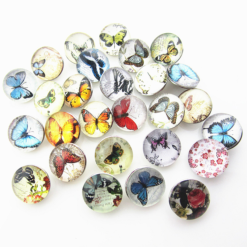 Mix 12pcs/lot 18mm Butterfly Pattern Glass Ginger Snap Buttons Charms Fit Snap Bracelet/ Necklace DIY Jewelry image