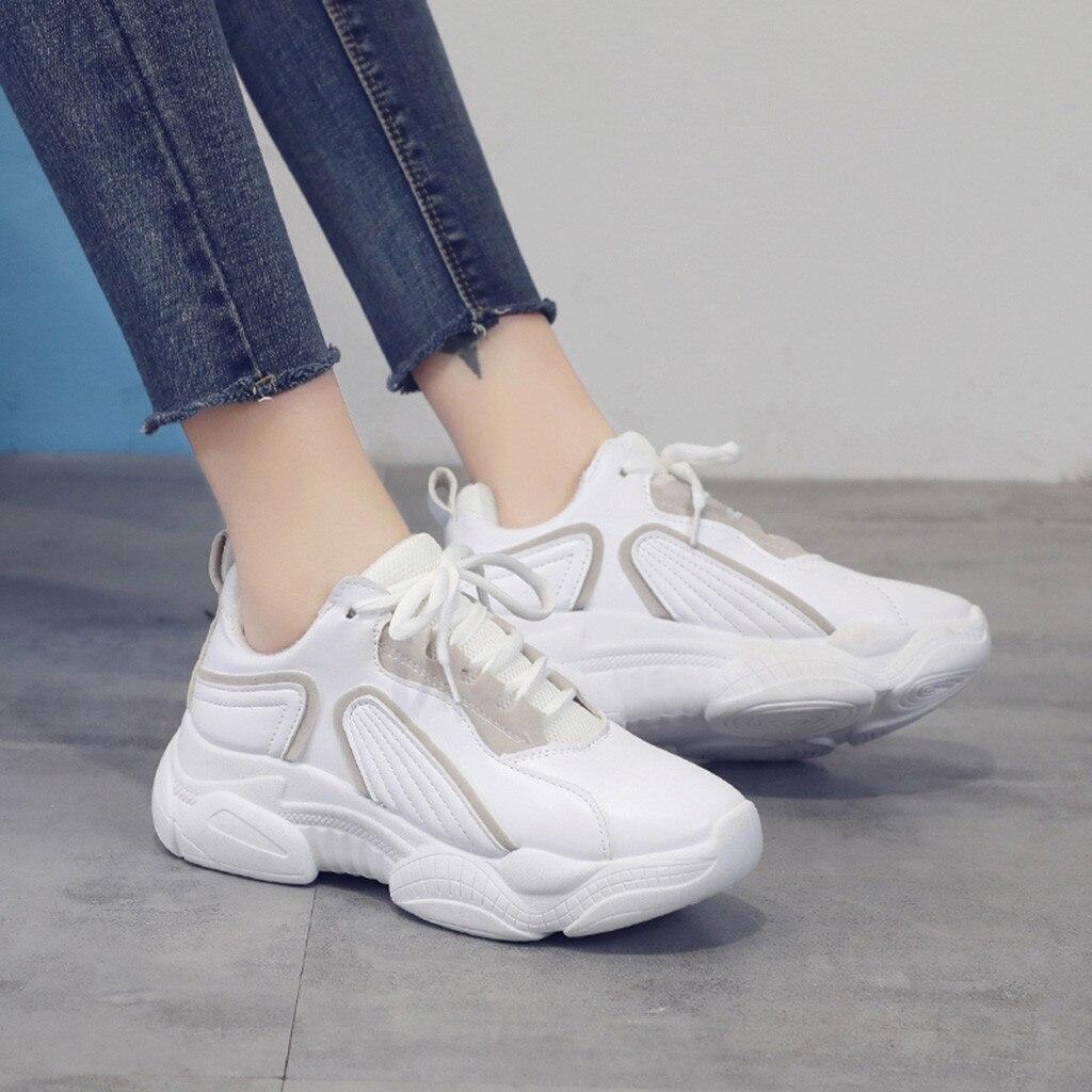 Vogue femmes baskets belle mode chaussures à lacets vulcanisé fond épais plate-forme baskets décontracté blanc Tenis Feminino