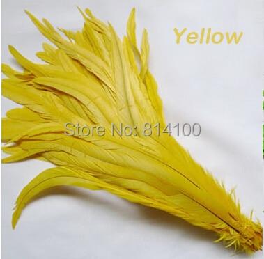 Pluma de cola del gallo amarillo colores DIY pluma Ropa Accesorios ...