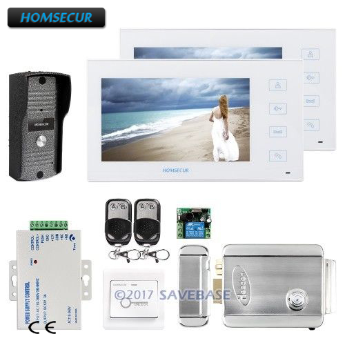 HOMSECUR 7 Video&Audio Home Intercom+Electric Lock Compatible for Easy Unlocking
