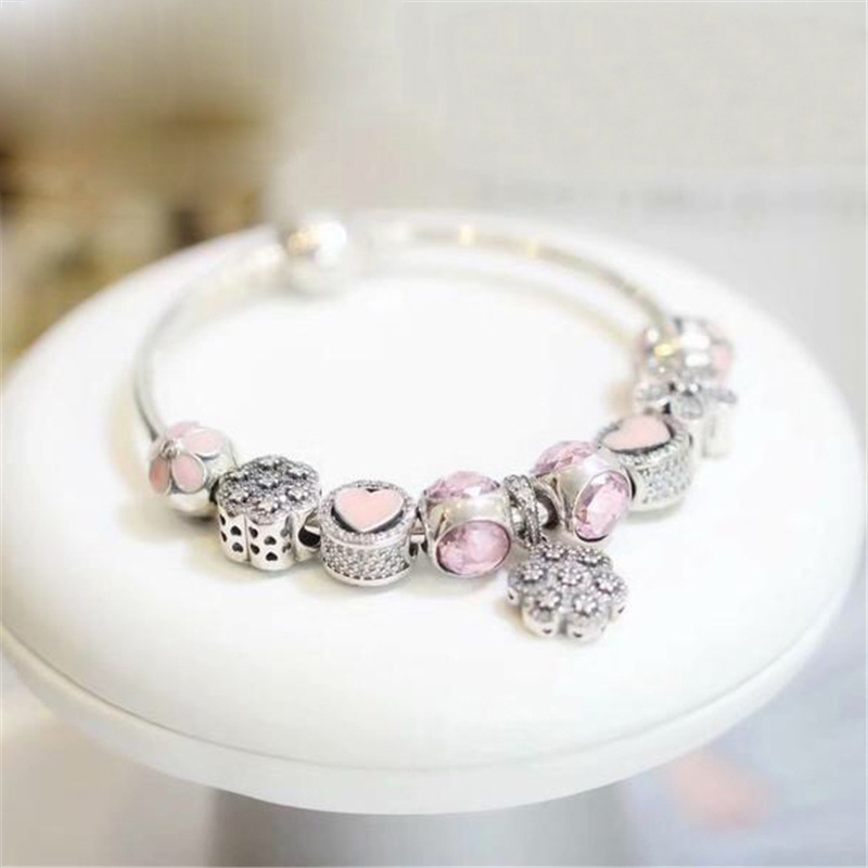 Fits  Jewelry Charm DIY Fem Jewelry Gift Finished Bracelet 925 Sterling Silver Beads Red Theme BraceletFits  Jewelry Charm DIY Fem Jewelry Gift Finished Bracelet 925 Sterling Silver Beads Red Theme Bracelet