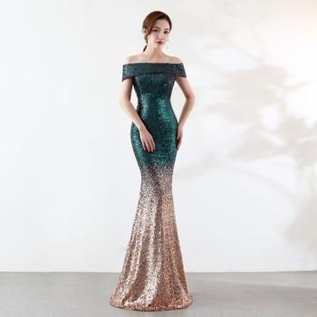 acc367d70 Sexy verde degradado lentejuelas cuentas cremallera hombro sin tirantes  vestido largo elegante vestido de noche