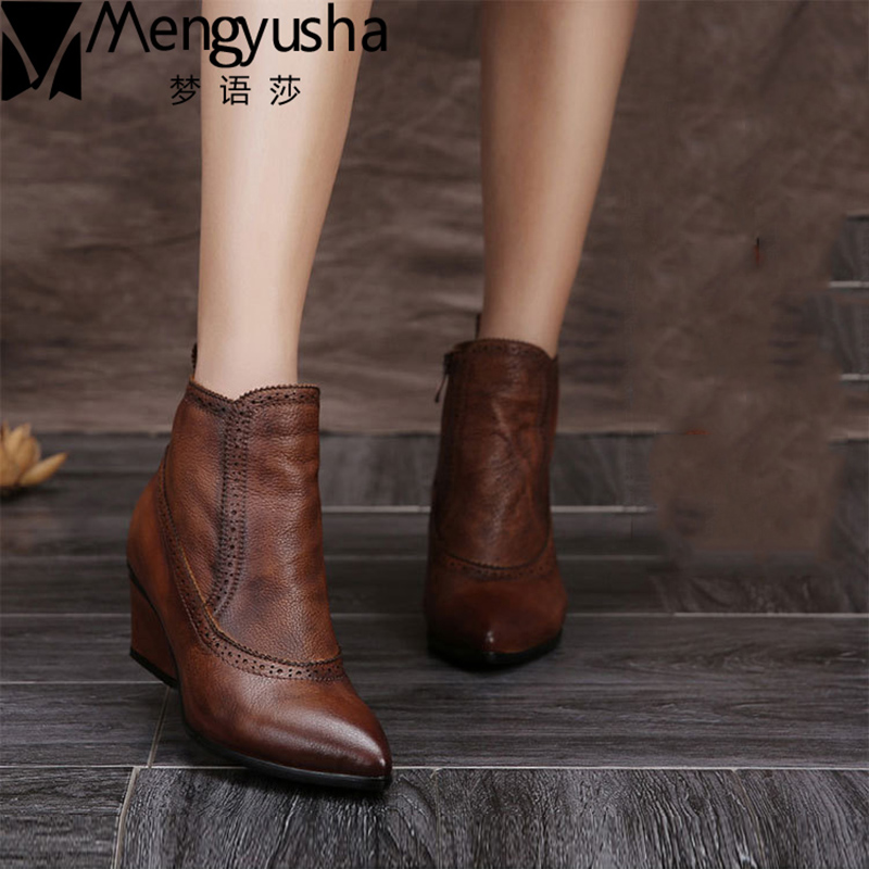 HOT SALE Shoes Women Retro Boots Handmade Ankle Boots High Heels Wedage Boots Genuine Le ...