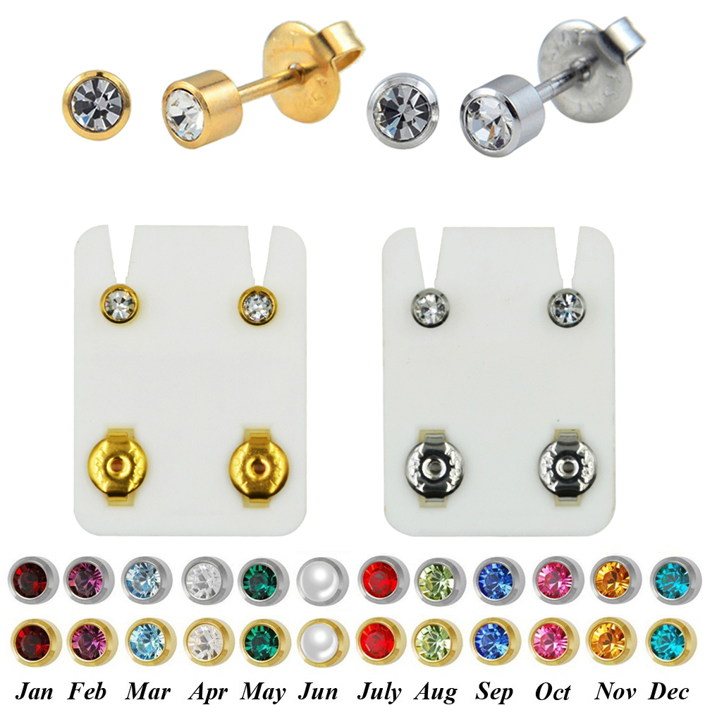 PAIR 24K Plated Gold Birthstone CZ Gem Ear Helix Tragus Cartilage Stud Earrings Piercing Professional For Earring Gun Jewelry