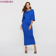 Blue Long Dress 2019 Fashion Trumpet Sleeve bodycon dress Backless Round Neck Bag Hip Solid Elegant dresses Office Robe Femme round neck long sleeve bodycon dress