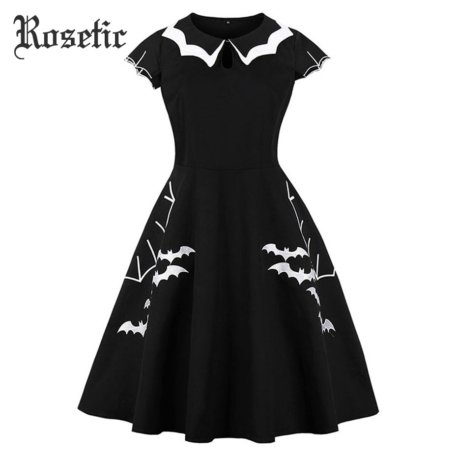 Rosetic Gothic Summer Women Dress Black Bat Embroidery Hollow-Out Color Block Peter Pan Collar Retro A-Line Swing Dresses