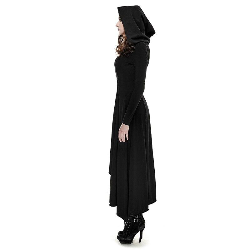 Punk gótico mujeres Retro tejido delgado vestido largo con capucha negro Regular manga noche mujeres vestidos talla grande XXXL-in Vestidos from Ropa de mujer    2