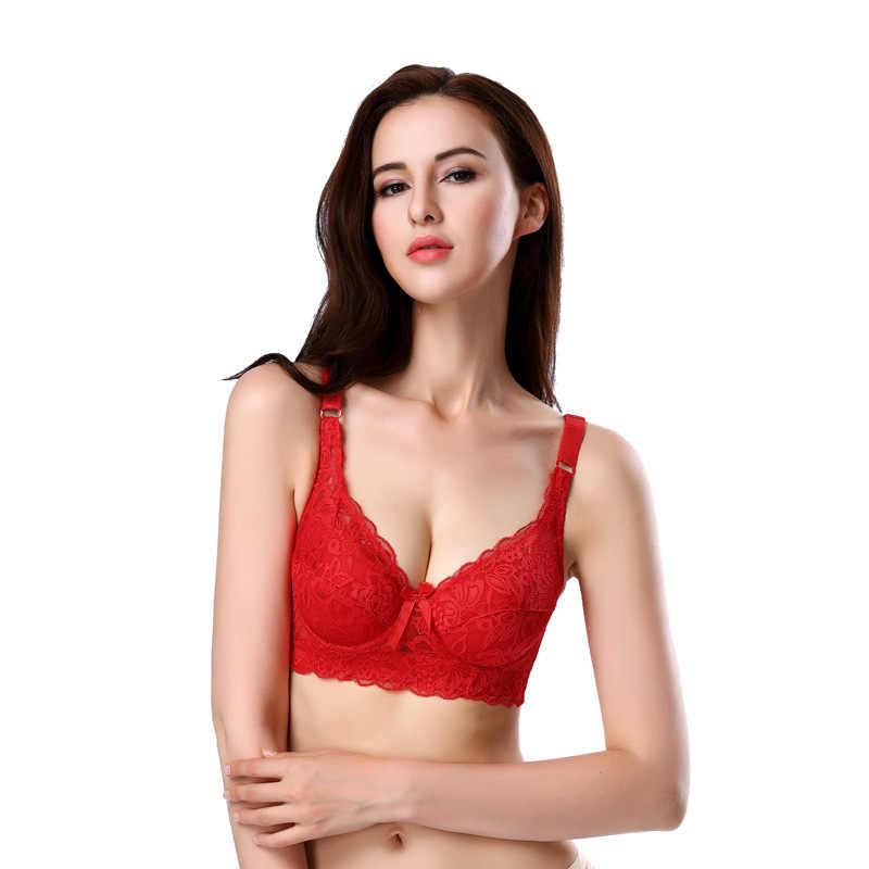 1aa25bdf4 Red Lace SUPER Sexy Big Size Bra Large 40C 40D 42C 42D 44C 44D 46C 46D