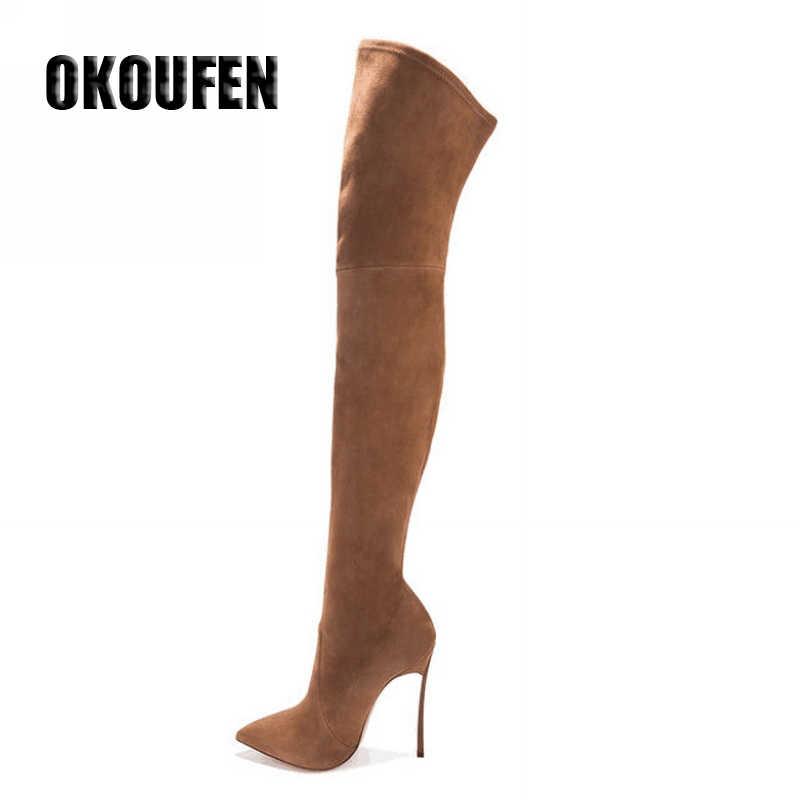 2019 nuove donne di stile scarpe stivali sopra il ginocchio stivali a metà coscia inverno di modo di stile scarpe a punta tacchi alti stivali
