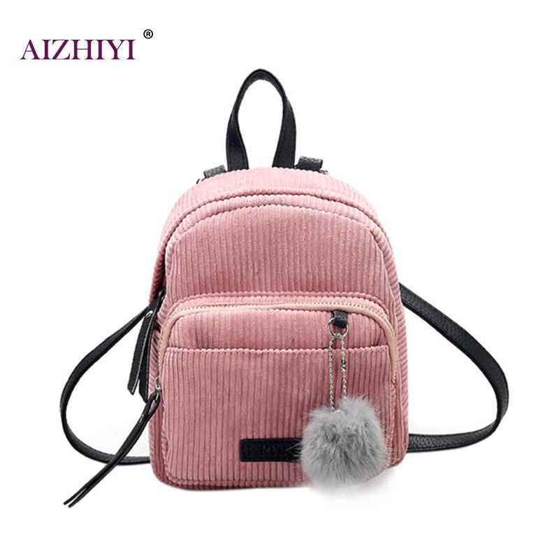 Girl Backpack Mochilas Mini Backpack Small Women Shoulder Bag Fur Ball Solid Color Corduroy Back Pack Winter Velvet Schoolbag