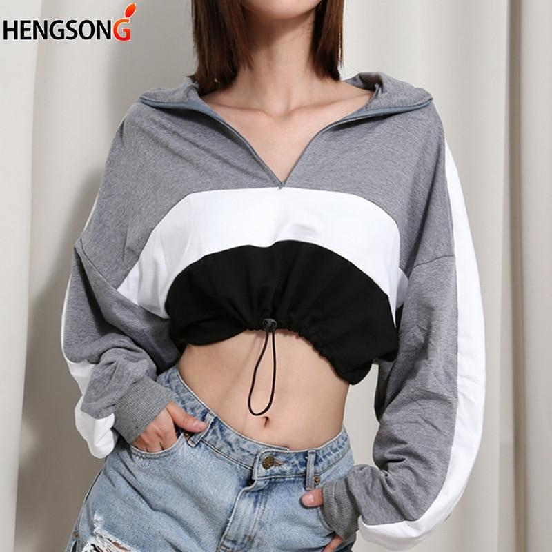 New Autumn Long Sleeve Hoodies Women Short Pullovers Deep V Neck Zipper Crop Top Drawstring Stripe Sweatshirt Women Hoody