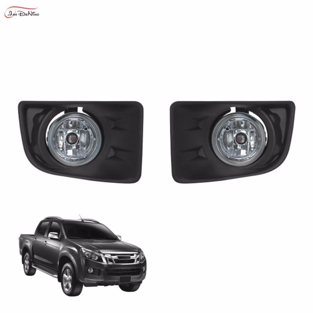 JanDeNing Car Fog Lights  For ISUZU D-MAX 2012~ON Front Fog Lamp Light Lamp Replacement Assembly kit  (one Pair) free shiping for isuzu d max black front
