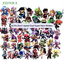 FXINBA 50 Pcs Don't repeat Cool Super Hero Stickers for Laptop Styling Phone Bicycles Luggage Motorcycle PVC Waterproof Sticker